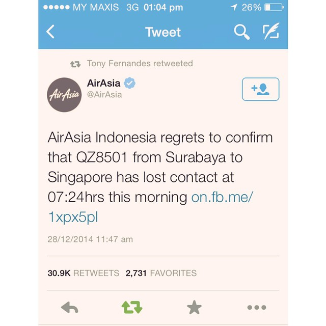 @AirAsia: AirAsia Indonesia regrets to confirm that QZ8501 from Surabaya to Singapore has lost contact at 07:24hrs this morning