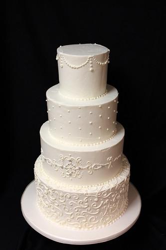 Large Textured Buttercream Wedding Cake