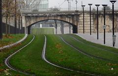 Rails de tramway - Tram rail tracks, Paris (blafond) Tags: paris tram rails t3 tramway strassenbahn railtracks tranvia gazon amenagementurbain