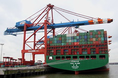 CSCL GLOBE (Martin Fester) Tags: china globe ship hamburg line container shipping elbe cscl burchardkai chinashippingline waltershof eurogate containerbridges csclglobe