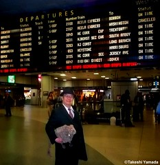 Dr. Takeshi Yamada and Seara (Coney Island Sea Rabbit) at the New York Penn Station in Manhattan, NY on May 13, 2015.  20150513 145=C4 (searabbits23) Tags: ny newyork sexy celebrity rabbit art hat fashion animal brooklyn asian coneyisland japanese star tv google king artist dragon god manhattan famous gothic goth uma ufo pop taxidermy vogue cnn tuxedo bikini tophat unitednations playboy entertainer oddities genius mermaid amc mardigras salvadordali performer unicorn billclinton seamonster billgates aol vangogh curiosities sideshow jeffkoons pennstation globalwarming mart magician takashimurakami pablopicasso steampunk damienhirst cryptozoology freakshow seara immortalized takeshiyamada roguetaxidermy searabbit barrackobama ladygaga climategate  manwithrabbit