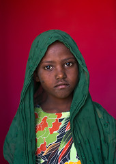 Portrait of an afar tribe girl, Afar region, Semera, Ethiopia (Eric Lafforgue) Tags: africa girls portrait people color girl childhood vertical scarf outdoors photography child veiled serious african muslim islam tribal teenager shawl copyspace ethiopia tribe ethnic beautifulpeople oneperson traditionalculture adornment hornofafrica individuality ethiopian afar eastafrica redbackground abyssinia traditionalclothing lookingatcamera samera waistup danakil 1people asayta indigenousculture onegirlonly afarregion nomadicpeople onechildonly assaita semera assayta ethio162286