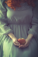 Apple (nikolina petolas) Tags: old food woman white apple girl beautiful wall fruit vintage hair bride dance clothing log holding shoes alone sitting dress floor adult legs antique room young retro curly inside 50s studioshot cloth bridal redhair sleeves midsection curles