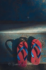 Red slippers (Syahrel Azha Hashim) Tags: morning travel light shadow red vacation holiday detail colors fashion stairs 35mm prime colorful dof getaway sony details objects naturallight nopeople malaysia handheld shallow simple sabah slippers topview householditems a7ii colorimage mabulisland sonya7 syahrel ilce7m2