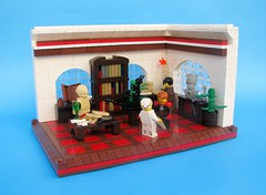 The Letter (gid617) Tags: blue windows red brown candle floor lego background maps books scene cartography letter walls copyist minifigures
