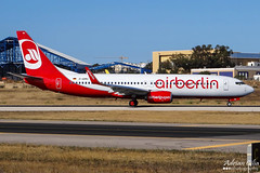 Air Berlin --- Boeing 737-800 --- D-ABMU (Drinu C) Tags: plane aircraft aviation sony boeing dsc 737 mla airberlin 737800 lmml hx100v adrianciliaphotography dabmu