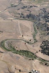 Aerial view of the San Andreas Fault cutting meanders in the San Benito River, San Benito County, California (cocoi_m) Tags: california nature aerial sanandreasfault fault meander geology geomorphology aerialphotograph sanbenitocounty sanbenitoriver
