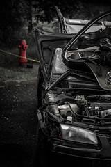 Rough Day (jlr_keys) Tags: road street car metal sedan hydrant fire automobile traffic crash accident tape windshield wreck