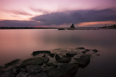 Eastern Point Beach sunset take 2 (johnnyarmaosphotography) Tags: new longexposure sunset england beach thames coast rocks connecticut newengland ct newlondon thamesriver groton easternpoint ndfilter neutraldensity southeasternct