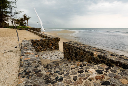 Sea wall at the SO Sofitel Hua Hin resort on Cha-am beach, Thailand.