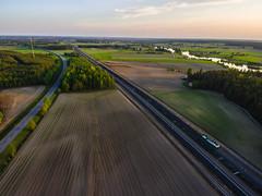 Freight train 55701 (ArtDvU) Tags: sunset summer electric train finland landscape evening spring sunny locomotive freight vr drone sr1 dji finnishrailways t55701
