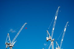 Neck And Neck (photosam) Tags: london england unitedkingdom fujifilm xe1 fujifilmx prime raw lightroom xf35mm114r xf35mmf14r construction stratford eastlondon cranes redevelopment londonboroughofnewham newham bluesky queenelizabetholympicpark