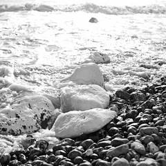 (bokehmaki) Tags: light sea england blackandwhite bw water 50mm coast waves sigma shore beachyhead birlinggap canon5dmkii
