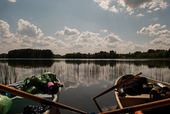 Two boats (modestmoze) Tags: blue trees two sky plants brown white lake reflection green nature water beautiful yellow clouds boats outside outdoors grey wooden spring warm day waves looking view natural may floating sunny things stuff treeline lithuania paddles 2016