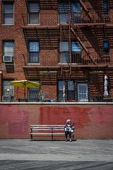 Odessa (Pensiero) Tags: old nyc windows woman ny building beach brooklyn bench donna brighton sitting palazzo seduta finestre panchina anziana