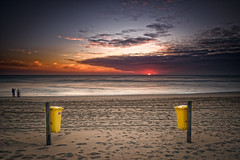 Urban and nature ( Jenco van Zalk) Tags: red people panorama seascape holland art netherlands colors yellow clouds landscape evening nikon long exposure horizon fine bin northsea lee footsteps cloudscape recyclebin wastebasket d800 1635 jenco bigstopper