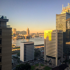 Unusually clear view from the office today (adechazal2002) Tags: sunset landscape view iphone victoriaharbor standardcharteredbank hongkomg
