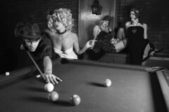 Retro male shooting pool with three retro females watching. (djcharlou) Tags: people blackandwhite male horizontal female bar vintage women image unitedstatesofamerica lounge watch retro indoors photograph recreation billiard showoff poolhall concentrate caucasian partygirl distract 3035years 3540years primeadult pocketbilliard 060302e0038