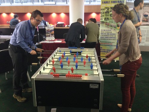 Conference participants playing Garlando