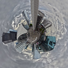 La Defense, Paris - 360 Planet in HDR (intersected) (SpirosK photography) Tags: city urban paris france skyline clouds 360 ladefense planet 360degrees σύννεφα littleplanet polarpanorama γαλλία παρίσι