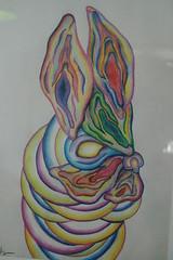 004 (Sandra Wilde) Tags: blue red white colour rabbit green art yellow circle weird sweden wilde fantasy purble