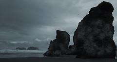 Shadows, wind and rain...... (McCoy352) Tags: ocean beach water rain rock clouds sand shadows wind walk gull randomness thoughts seastacks bandonoregon cooltones