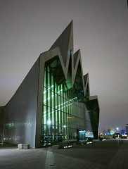 Riverside Museum, Glasgow (creditflats) Tags: green glass museum architecture night pen dark scotland clyde glow riverside glasgow steel transport olympus transportation zaha hadid ep5
