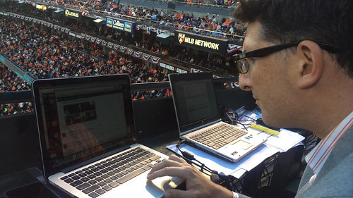 Bryan Srabian updates the San Francisco Giants' social media followers during Game 3 of the World Series .