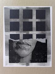 Nine While Nine (Brad Terhune) Tags: portrait white black art collage paper square pattern gray repetition torn