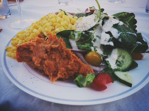 """Thanksgiving meal: sweet potato mash, corn, green beans, salad, roasted turkey and a glass of red. <a style=""""margin-left:10px; font-size:0.8em;"""" href=""""http://www.flickr.com/photos/118228725@N06/15937170321/"""" target=""""_blank"""">@flickr</a>"""