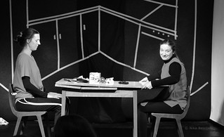 Lezbična četrt 2014; Rdeči cmeri; Monospolno gledališče, avtorici Irena Duša in nataša Jereb; 8. 12. 2014
