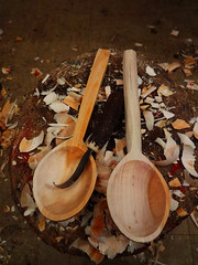 willow serving spoons roughed out. (fishfish_01) Tags: wood wooden carved folkart spoon carve woodenspoon
