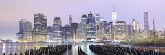 Lower Manhattan Skyline (BillikenHawkeye) Tags: newyorkcity longexposure panorama newyork skyline dawn cloudy pano skycrapers urbanskyline