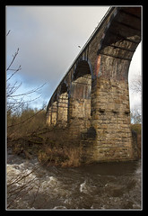 Island Arches (K-Burn) Tags: brick abandoned metal stone clouds river fife rapids viaduct riverleven glenrothes dismantledrailway spate markinch balbirnieviaduct