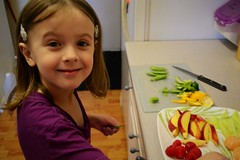 Making a Fruit & Veggie Plate (Vegan Butterfly) Tags: food cute girl fruit kid vegan child adorable plate vegetable veggie homeschool homeschooling