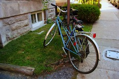 Two For The Road (Satin Ribbon) Tags: two canada love lovers bicycles parked tryst chained themeeting