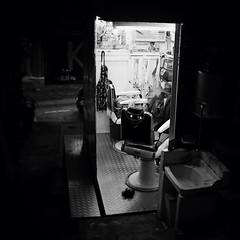 A backstreet barbers, Hong Kong (a.pierre4840) Tags: blackandwhite bw monochrome hongkong alley noiretblanc streetphotography olympus squareformat omd schneider kreuznach alleyways 17mm f17 em5 cmount xenoplan