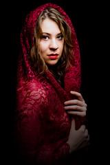 Red Lace (TNrick) Tags: ohio red portrait woman lace cincinnati lowkey portraitofface rapidbox yn560iii