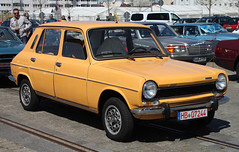 1100 (The Rubberbandman) Tags: auto door old orange france classic car sedan vintage germany french four 1 outdoor 4 schuppen special german vehicle bremen saloon hatchback fahrzeug 1100 simca
