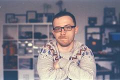 (alex.vaughn90) Tags: portrait color berlin film self germany crossprocessed indoor scan 1992 135 dailylife expired fujichrome selfie diafilm c41 nikonfm colornegative
