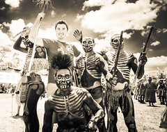 Rene Is The One In The Top Left (Stuck in Customs) Tags: people blackandwhite bw horizontal square outside outdoors person clothing day dress outdoor sony teeth traditional rr file september daytime monochrom tribe facepaint papuanewguinea dailyphoto hdr poeple headdress 2015 goroka hdrphotography hdrphoto stuckincustoms treyratcliff p2015 ilce7r