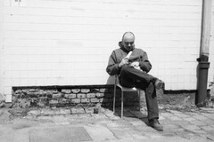 Olympus Mju II - Lunch Break (Kojotisko) Tags: bw streetphotography brno creativecommons streetphoto rodinal fomapan100 mju2 olympusmjuii