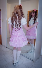 Little girl (blackietv) Tags: pink white mirror lace skirt crossdressing blouse tgirl transgender lolita transvestite crossdresser petticoat frilly
