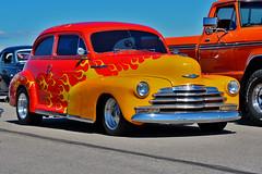 1947 Chevy Fleetmaster (skyhawkpc) Tags: copyright chevrolet sedan nikon colorado flames chevy co custom watkins carshow allrightsreserved ftg 2016 2door fleetmaster frontrangeairport kftg garyverver