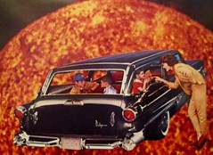 Moving into the Inferno: My Apocalyptic Childhood Nightmares (joannmuench) Tags: collage collageart artcollage montage illustration vintage retro surreal surrealistic surrealism car vintagecar stationwagon children mother family sun hugesun inferno cataclysm apocalypse