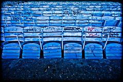 Wordbone (Thomas Hawk) Tags: usa abandoned graffiti unitedstates chairs florida fav50 miami unitedstatesofamerica seats seating marinestadium fav10 virginiakey fav25 miamimarinestadium