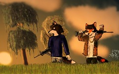 Deadly Fields (JUSTCLAWiT) Tags: coyote grass clouds wolf jasper fields guns tress afternoun acapolo