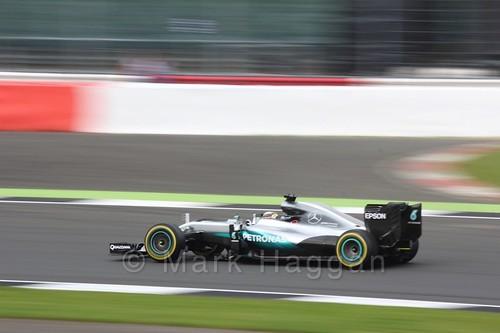 Lewis Hamilton in his Mercedes during Free Practice 3 at the 2016 British Grand Prix