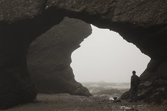 5IMG0680  Selfie, alone among the Hopewell Rocks (Glenn Gilbert) Tags: newbrunswick canada bay fundy hopewellrocks hopewellcape hopewell arch tunnel morning fog solitary outdoor coast shore landscape travel mysterious unknown rock cave explore