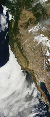 US West Coast and Wildfires (sjrankin) Tags: 19august2016 edited panorama nasa modis westcoast fires wildfires centralvalley sierranevada greatbasin cascademountains rockymountains pacificocean mexico canada nevada coastrange clouds bajacalifornia